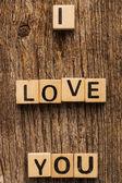 Phrase I love you on toy bricks — Stock Photo