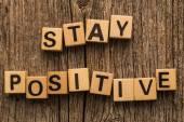 Stay positive on toy bricks — Stock Photo