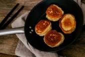 Homemade pancakes on pan — Stock Photo