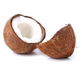 Halves of coconut on a white — Stock Photo