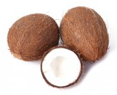Whole coconut and half on a white — Stock Photo