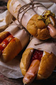 Hot dogs on the table — Stock Photo