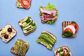 Delicious toasts with vegetables — Stock Photo