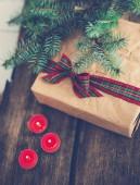 Christmas gift on the floor — Stock Photo