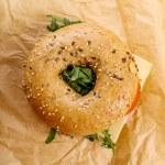 Delicious bagel sandwich — Stock Photo #73111809