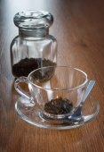 Tea in a transparent cup — Stock Photo