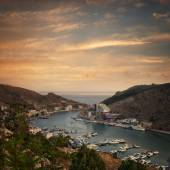The view of the sea bay with ships — Stock Photo