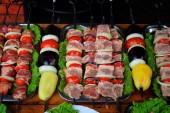 Mięso i warzywa na szaszłyki — Zdjęcie stockowe