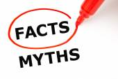 Facts Myths Concept Red Marker — Zdjęcie stockowe