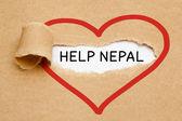 Help Nepal Torn Paper — Stock Photo