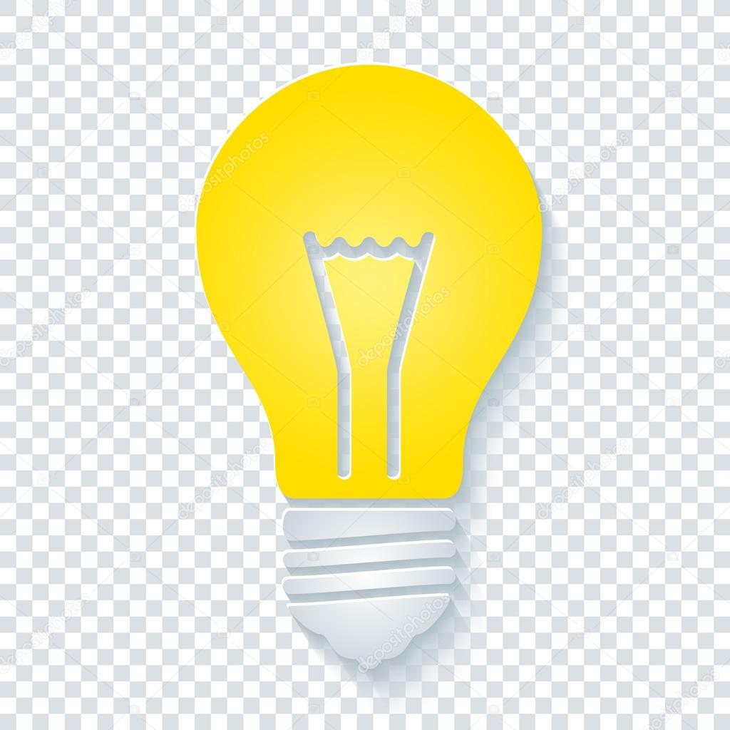 Light Bulb On Transparent Background Stock Photo