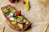 Sandwich with pickled vegetables — Stock Photo