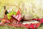 Picnic basket with hat — Foto de Stock