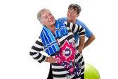 Two senior women making fitness exercises — Стоковое фото