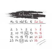 Handdrawn calendar February 2015. Vector. — Stock Vector