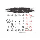 Handdrawn calendar May 2015. Vector. — Stock Vector