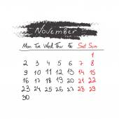 Handdrawn calendar November 2015. Vector. — Cтоковый вектор
