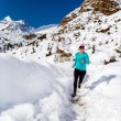 Happy woman cross country running in winter — Stock Photo #57855259