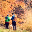 Vintage instagram couple hiking in autumn forest — Stock Photo #58242733