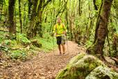 Hiker walking trekking in green forest — Stock Photo