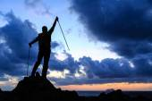 Happy winner reaching life goal success man — Stock Photo