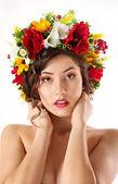 Beautiful girl in Ukrainian chaplet — Stock Photo