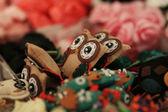 Handmade owls from felt — Stock Photo