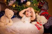 Girl with teddy bears — Stock Photo