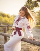 Ukrainian girl in national clothes — Stock Photo