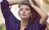 Meisje met mode make-up close-up — Stockfoto