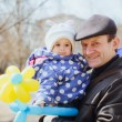 Little girl and father in spring forest — Stock Photo #70347307