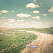 Sunny day in countryside. Empty rural road going through summer — Stock Photo #52787453