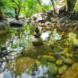 Amazing tropical rain forest landscape with lake and balancing rocks — Photo #52787555