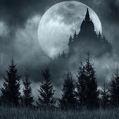 Magic castle silhouette over full moon at mysterious night — Stock Photo