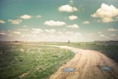 Sunny day in countryside. Empty rural road going through summer  — Stock Photo