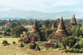 Old Buddhist Temples at Bagan Kingdom, Myanmar (Burma) — Zdjęcie stockowe