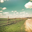 Sunny day in countryside. Empty rural road going through summer — Stock Photo #53813205