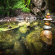Amazing tropical rain forest landscape with lake and balancing rocks — Photo #53814061