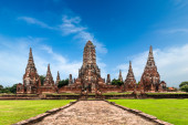 Panorama view of Chai Watthanaram temple ruins. Ayutthaya, Thailand — ストック写真