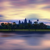Panorama view of Angkor Thom temple at sunset. Angkor Wat. Cambodia — Stock Photo