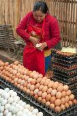 Mensen verkoop van levensmiddelen op de Aziatische markt. Laos — Stockfoto