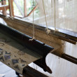 Vintage manual weaving loom with unfinished textile work — Φωτογραφία Αρχείου #54501681