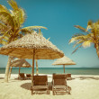 Beach with palm trees, chairs and umbrella — Stock Photo #54502045