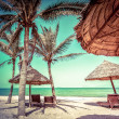Beach with palm trees, chairs and umbrella — Stock Photo #54502055