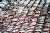 Cheap souvenir bangles at asian market. Laos — Stock Photo