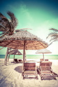 Beach with palm trees, chairs and umbrella — Stock Photo