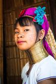Karen Long Neck woman with brass coils — Stock Photo