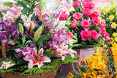 Beautiful different flowers bouquets at street shop — Стоковое фото