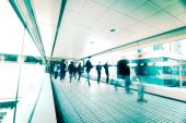 Blurred people moving at crowded street. Hong Kong.  — Stock Photo