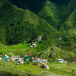 Village houses near rice terraces fields. Amazing abstract textu — Stock Photo #76926555